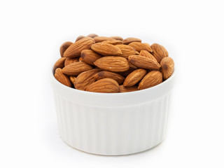 Almonds in white cup