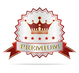 Luxury Silver and red ribbon premium shields label