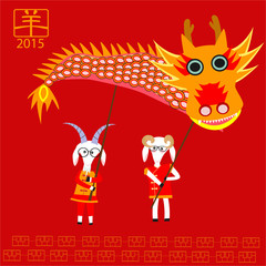 Goats holding the dragon to celebrate Chinese new year