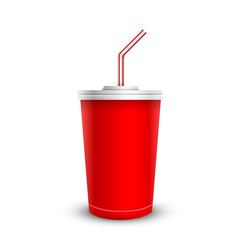 disposable cup for beverages with straw. Isolated on a white.