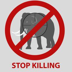 stop killing animals symbol with elephant eps10