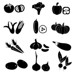 set of black simple vegetables icons eps10