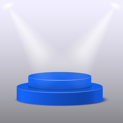 podium on a blue background