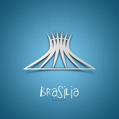 Brasilia, Brasil. Blue greeting card.