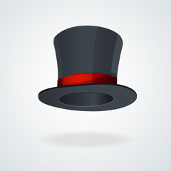 Vector Black top hat and red ribbon isolated
