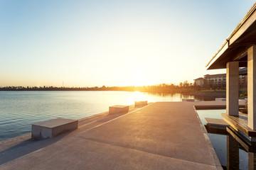 sunset at lakeside near resort
