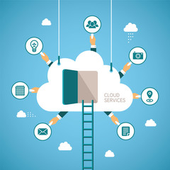 Vector concept of cloud services