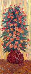 Oil painting. Lush bouquet of red flowers in a vase