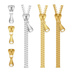 Vector realistic zippers type set of illustration