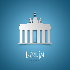 Berlin, Germany. Blue greeting card.