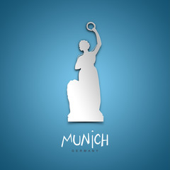 Munich, Germany. Blue greeting card.