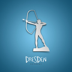 Dresden, Germany. Blue greeting card.