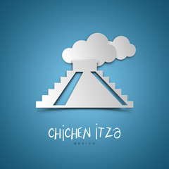 Chichen Itza, Mexico. Blue greeting card.