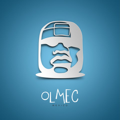 Olmec, Mexico. Blue greeting card.