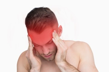Closeup of man suffering from headache