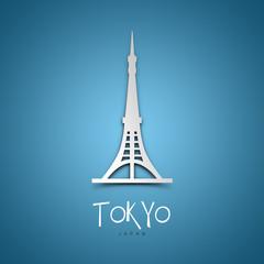 Tokyo, Japan. Blue greeting card.
