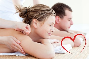 Composite image of loving couple having an acupunctre therapy