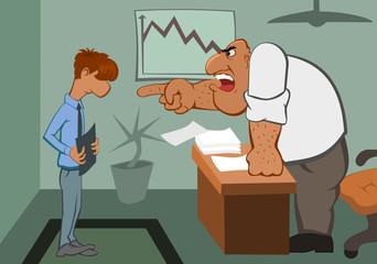 A boss swears at an employee