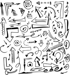 conventional vectorl hand drawn arrows