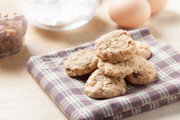 homemade oat cookies with raisin on napkin