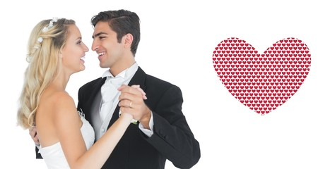 Composite image of sweet married couple dancing viennese waltz