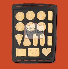 Tray of shortbread cookies.