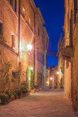 The small medieval village at night, Pienza, Italy