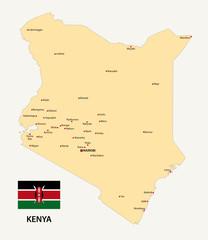 kenya map with flag