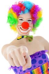 Clown zeigt mit Zeigefinger