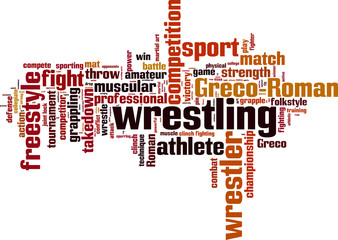 Wrestling word cloud concept. Vector illustration