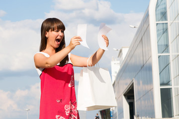 Woman unhappy amount of the invoice