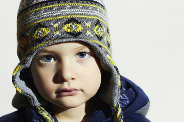 child.fashion kids.fashionable little boy in winter cap
