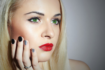 Beautiful blond Woman with Manicure.Beauty Girl.Nail design