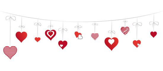 Liebes-Herzen an Leine hängend, Vektor