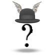Question Face with WInged Bowler Hat