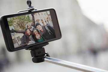 Group Of Tourists Taking Selfie