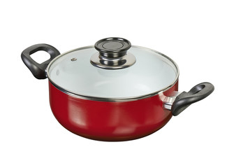 Red ceramic pan with clipping path
