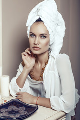 beautiful sexy girl with towel on head and with bijou