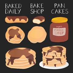 Vector Illustration of Pancakes with Maple Syrup