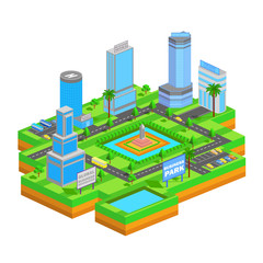 Isometric business building