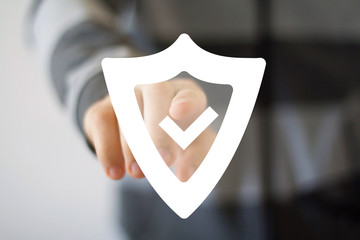 Button shield security virus icon business web sign