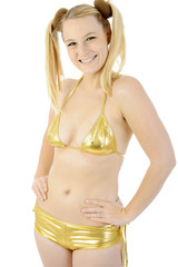 Gogo-Girl in Gold-Bikini