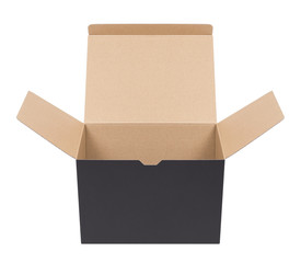 Black cardboard box on a white background