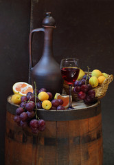 Wine, fruit and jug