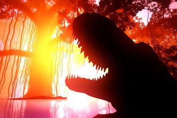 Alligator Attack in Deep Jungle Wetland in the Sunset Sunrise 3D