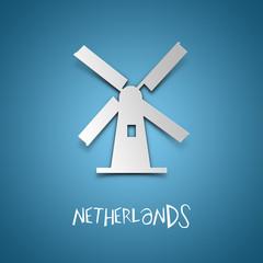 Netherlands. Blue greeting card.