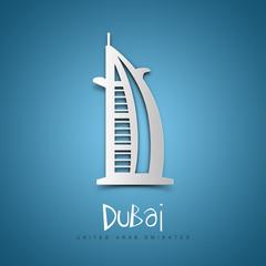 Dubai, United Arab Emirates. Blue greeting card.