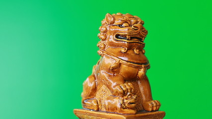 Chinese dragon statue with green screen
