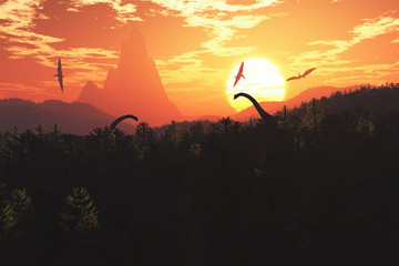 Prehistoric Jurassic Jungle in the Sunset Sunrise 3D artwork