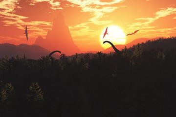 Prehistoric Jurassic Jungle in the Sunset Sunrise 3D artwork